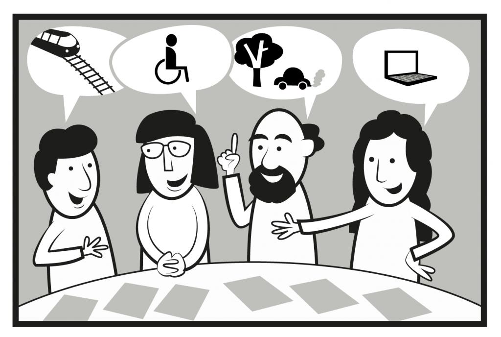Bilden visar en diskussion i en kommitté med representanter från olika intressegrupper