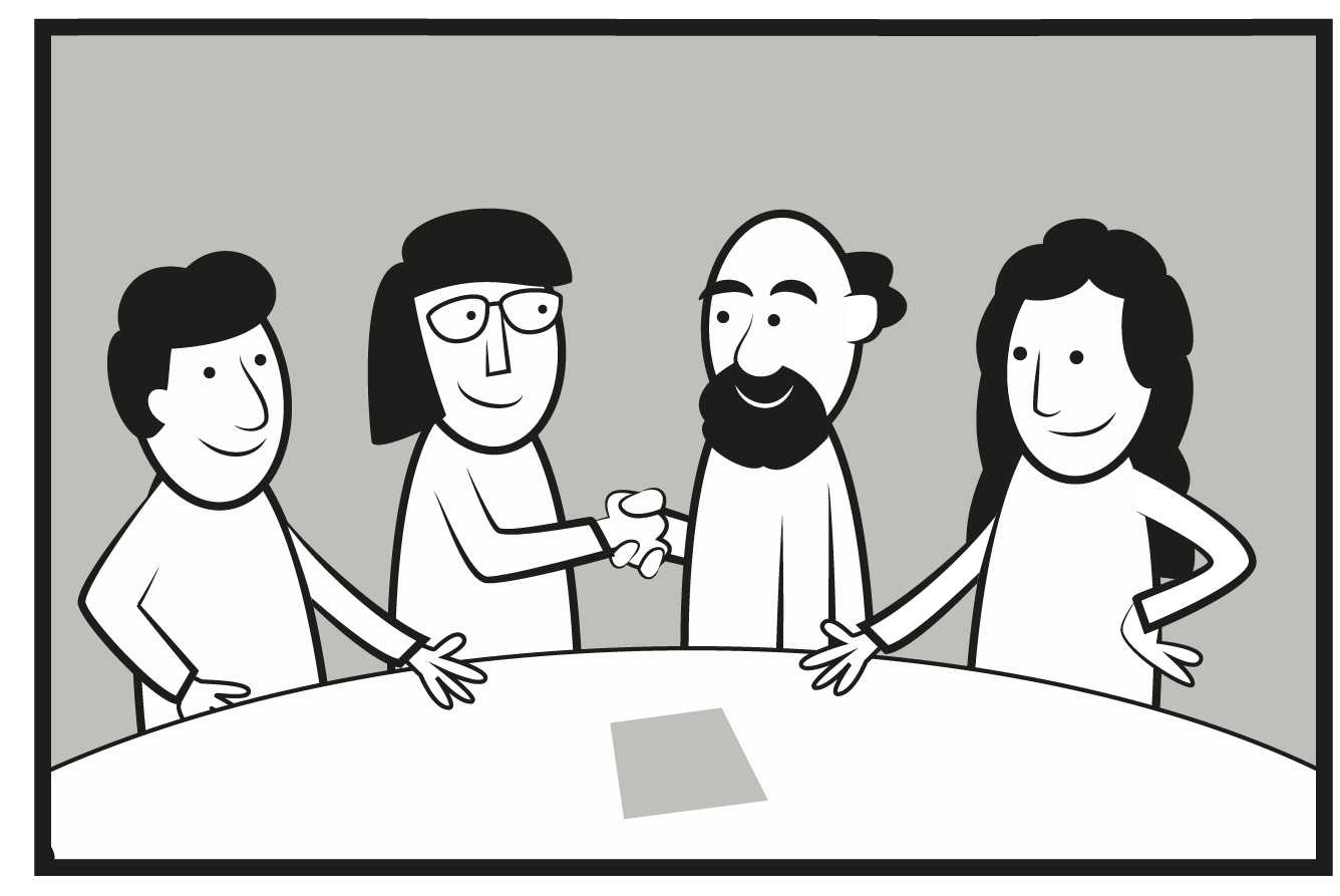 Som bilden visar är målet med standardiseringen att intressenterna ska komma överens. Illustration: Mattias Gordon